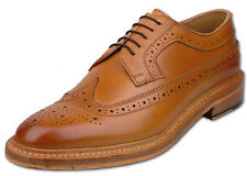 Mens Tan Lace Up Full Leather American Style Brogue Fashion Shoes UK Size 9