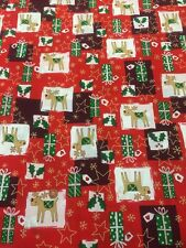 """100% Cotton craft Fabric Christmas Reindeer Red White Green 60"""""""