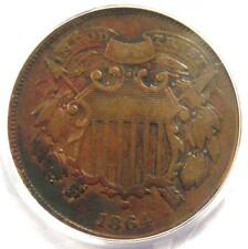 """1864 """"Small Motto"""" Two Cent Coin 2C - PCGS Certified - VF Details!"""