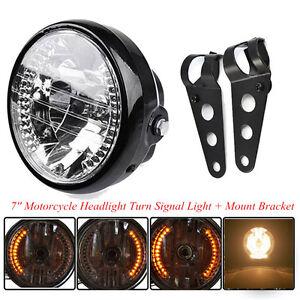 Motorcycle 7'' LED Headlight Turn Signal Indicator Black Mount Bracket Universal