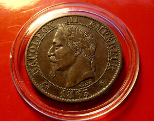 LOW MINTAGE Gem RARE 1865 A Mint France Dix 5 Centimes w Holder. Bronze 25mm 5g
