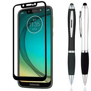 Stylus + FULL COVER Tempered Glass Screen Protector For Motorola Moto G7 Play