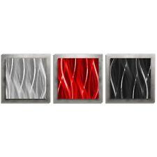 Red Black Silver Wall Art Color Modern Artwork Contemporary Metal Art