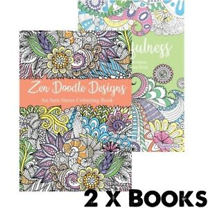 2 x ADULT ANTI-STRESS Colouring Books - ZEN DOODLE & MINDFULNESS ALL AGES