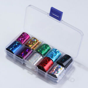 10Pcs/Box Holographics Nail Foils AB Color Nail Art Transfer Stickers Decals DIY
