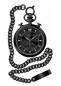 Invicta Men's Vintage Quartz Black Dial Stainless Steel Pocket Watch 34456