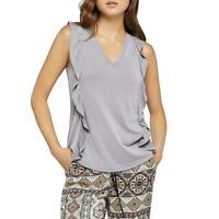 BCBGeneration NWT Women's Gray Ruffled V-Neck Sleeveless Casual Top Shirt Sz S