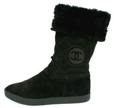 CHANEL $1,395 Black Quilted Suede Shearling Fur Mid-Calf Boots 39