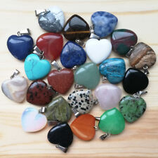 Fashion 20mm Assorted natural stone charms heart pendants for jewelry50pcs