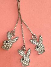 + set 3 pezzi playboy gioiello gadget coniglietti acciaio inox e zirconi bianchi