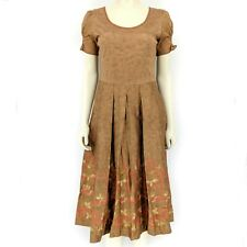 Peruvian Connection Brown Floral Short Sleeve Quince Blossom Dress US 2 / UK 6