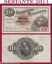 SWEDEN / SVEZIA   10 KRONOR  1940  P 34w   BB / VF