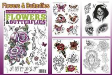FLOWERS & BUTTERFLIES Tattoo Flash Design Book 66-Pages Idea Art Supply