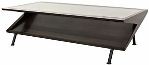 """64"""" L Coffee Table Tempered Glass Top Reclaimed Walnut Forged Steel Base Artisan"""
