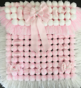 Luxurious Thick Baby Pom Pom Blanket / Pram Cover In Pink & White