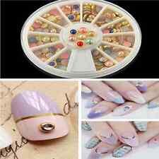 Stylish Nail Art Rhinestone Elegant Pearls Studs Glitter DIY Decoration+Wheel