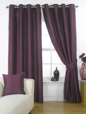 Ravello Faux Silk Fully Lined Plain Eyelet Ring Top Curtain Aubergine Purple Pl