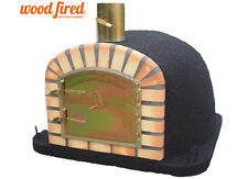 brick outdoor wood fired Pizza oven 100cmx100cm Maxi-Deluxe extra model in black