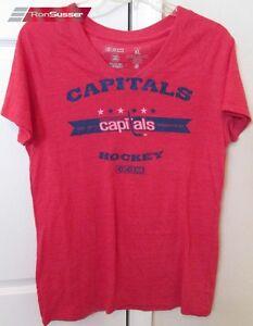 NHL Washington Capitals Ladies V-Neck T-shirt by CCM XL EUC