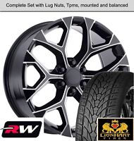 "22"" inch Wheels and Tires for Chevy Tahoe OE Replica CK156 Black Milled Rims"