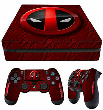 PS4 Playstation 4 Slim Skin Deadpool Logo Merc 02 + Pad Decals Vinyl LAY FLAT