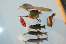 Vtg Lot Of Rubber Lures*Plumber Frog*Arbogast Lil Bass*Dance eel*Sunfish*Minnow