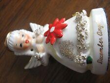 "December Angel-Ceramic-String Art-Gold Trim-Pointsettta-A1372-Ja pan-4 3/8"""