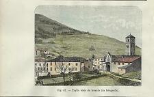 Stampa antica TEGLIO veduta con la chiesa Valtellina Sondrio 1896 Old Print