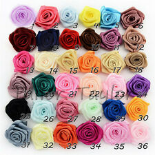 36 Colors 100pcs Satin Ribbon Rose Flower Bow Wedding Decoration Appliques DIY