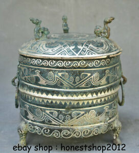 """8"""" Old Chinese Bronze Ware Silver Dynasty Palace 3 Bird Drinking vessel"""