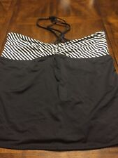 Old Navy Tankini Top, Halter, Size 1X, Black White stripe EUC