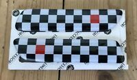 Genuine New FIAT RED BLACK & WHITE CHEQUERED SIDE BADGE SET For 500 500C