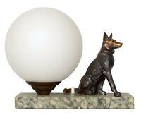 Antike Skulpturen Lampe gemarkt Schäferhund Hund 1930 Marmor Nachttischlampe