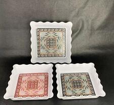New listing TempTations Old World 8� 7� Square Dishes Bowls Melamine Ruffled White 1.75� T