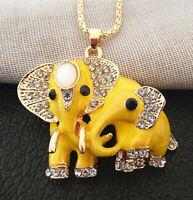 Betsey Johnson Yellow Enamel Crystal Double Elephant Pendant Sweater Necklace