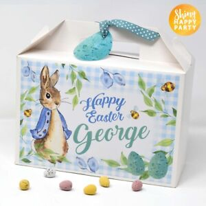 PERSONALISED Large BOX Easter Mr Rabbit Peter Box Treat Egg Gift Pink Blue