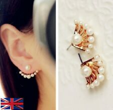 Women's Double Sided Gold Pearl Earrings - UK Free P&P