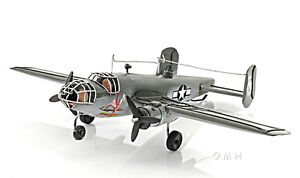 """North American B-25 Mitchell Bomber Metal Desk Model 13"""" WWII Airplane Decor New"""