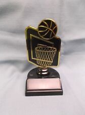Basketball trophy theme ball and net black & gold weighted base