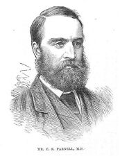 Charles Stewart Parnell MP - Antique Print 1880