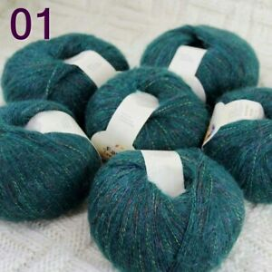 Sale 6BallX50gr Fluffy MOHAIR Rainbow Sweater Hand Knitting Crochet Yarn 01