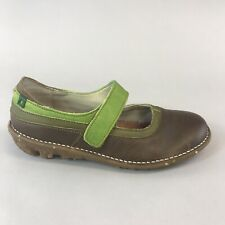 El Naturalista Brown Green Leather Mary Jane Wedge Sandals Shoes 37 UK4