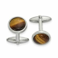 Chisel Stainless Steel Polished Tigers Eye Cufflinks MSRP$142