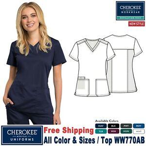 Cherokee Scrubs REVOLUTION TECH Women's New Fashion V-Neck Top WW770AB