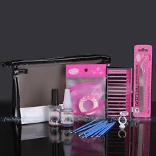 Pro Makeup False Eyelash Extension Black Glue Cleaning Remover Tweezer Bag Kit