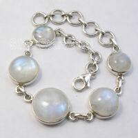 "Rainbow Moonstone 28.0 tcw Bracelet 8"" 15.5 Grams 925 Pure Sterling Silver"