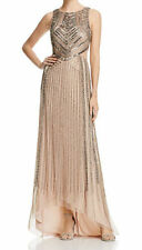 Adrianna Papell Sleeveless Beaded Cutout Gown Taupe Pink Size UK 18 LF079 GG 01