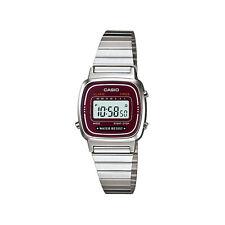 Casio Ladies Digital Stainless Steel Calendar Stop Watch, Silver Burgundy