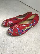 Red Embroidered Chinese Slippers New, Size 8 - 8.5 Phoenix Flat Shoes Ballet