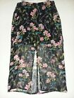 Express Sheer Black Bright Floral Skirt Front Slit Side Zip Sz XS Xsmall NWT